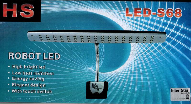 led leuchte mit 68 led blau weiss lampengeh use schwarz. Black Bedroom Furniture Sets. Home Design Ideas